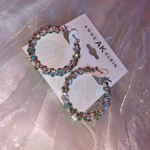 Anne Klein Multi-Color Silver Hoops
